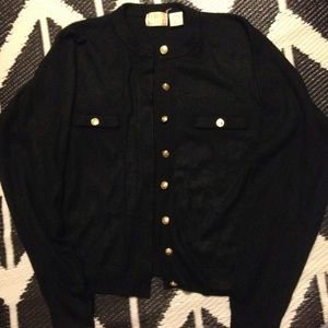 Sweaters - Black Cardigan with Gold Buttons