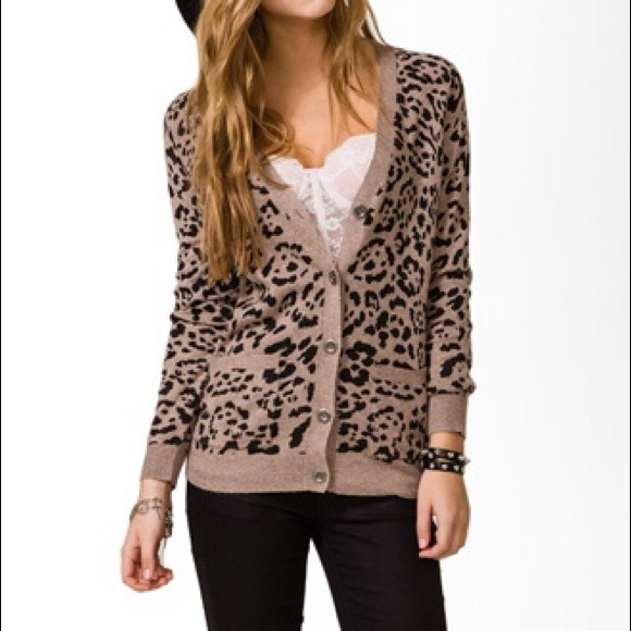 10% off Forever 21 Sweaters - Studded leopard print cardigan from ...