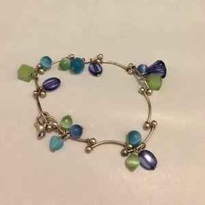 Silvery Bead Cluster Bracelet