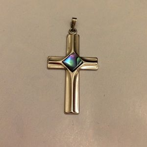 Silvertone Cross Pendant with Mother of Pearl