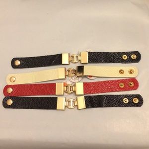 """FIRM Black Red or Cream Gold """"Leather"""" Bracelet"""