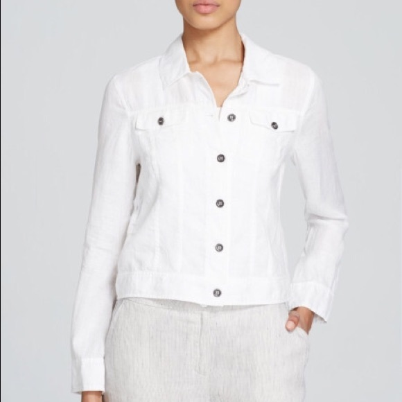 2e7246db92 Eileen Fisher Jackets   Blazers - Eileen Fisher White Linen Jean Jacket