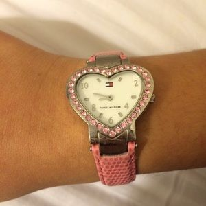 Tommy Hilfiger heart shaped watch pink and silver