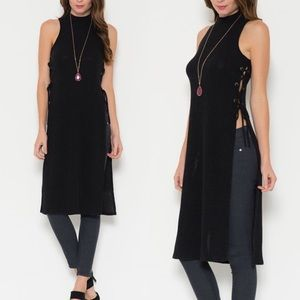 LOWEST PRICE ❤ Lace Up Side Mock Neck Top Tunic