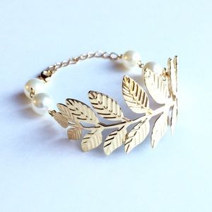 Gold leaf cuff and faux pearl bracelet