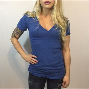 Victoria's Secret PINK Blue Tri-Blend V Neck