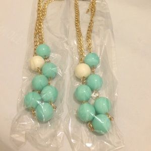 Asymmetrical Tiffany Blue Bead and Chain Necklace