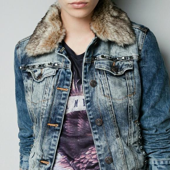 71ea746e Zara Jackets & Coats | Trf Fur Collar Jean Jacket Small | Poshmark