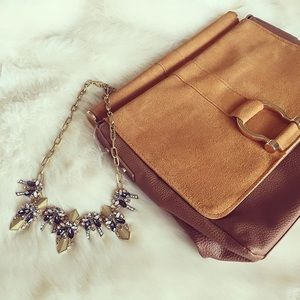 Brown Suede Leather Crossbody/Clutch Bag