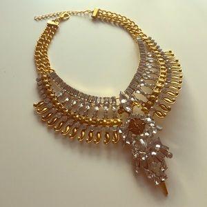 Rhinestone & Gold Bib Necklace