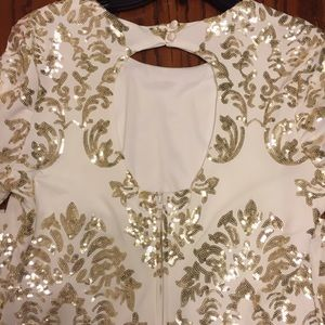 B Darlin Dresses Gorgeous Gold White Sequin Dress