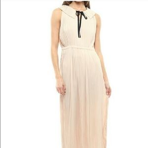 Neutral Pleated A-Line Maxi Cocktail Dress Women