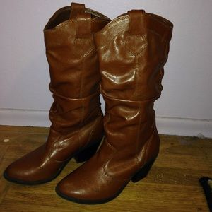 Heeled Brown knee-high boots
