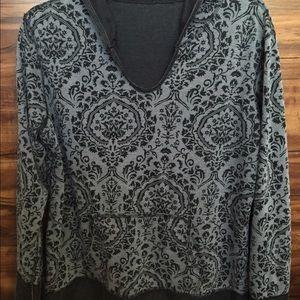 Black/Grey Reversible Hood Long Sleeve Pullover