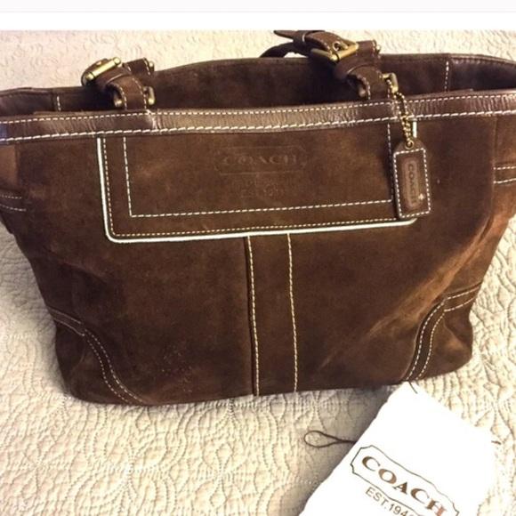 coach bags brown suede bag with blue trim suede kit poshmark rh poshmark com