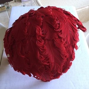 Vintage 1950s Suellenburgs Red Feather Hat