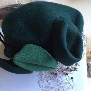 Vintage Green Floral Hat