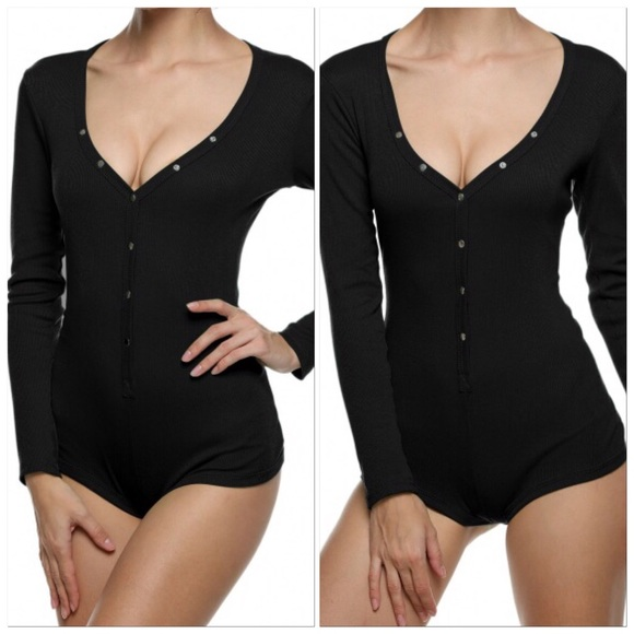 dd126beca1 Medium Black Long Sleeve Rib Shorts Pajama Romper