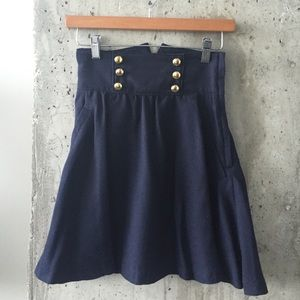 High waisted double breasted navy blue skirt