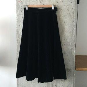 Vintage A line black velvet skirt.
