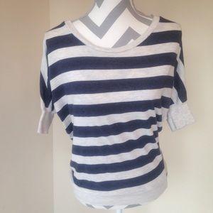 Navy & Grey Striped Half Sleeve Dolman Top