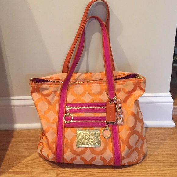 Authentic Coach orange pink poppy collection bag