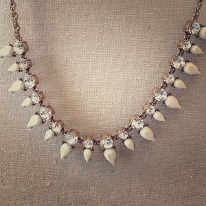 J. Crew white and crystal statement necklace