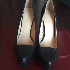 Zara Black Leather/Suede Pumps Size 8
