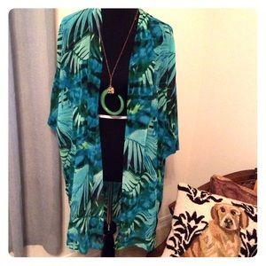 Leaf palm print  KIMONO cover up jacket sheer