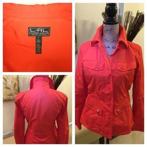 Ralph Lauren jacket, size small in orange.