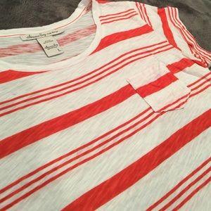 American Rag Red/Orange & White Striped Tee