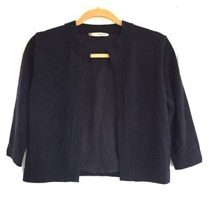 Ports 1961 Sweaters - Ports 1961 Navy Merino Wool Cardigan Silk Lined