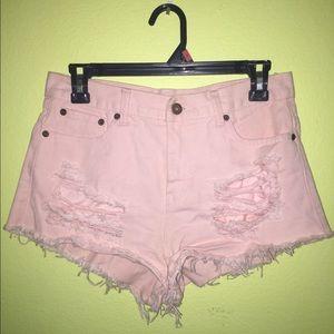 Pink High-Waisted Distressed Denim Shorts