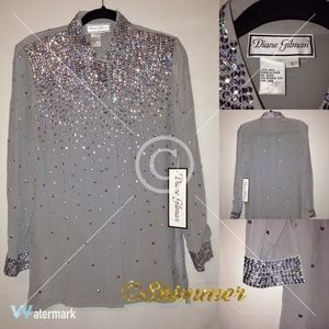 Grey Button-up Blouse Adorned with Sequin