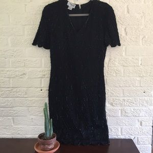 Vintage black beaded silk dress