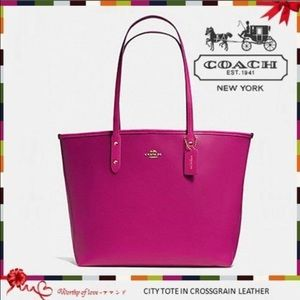 Coach Handbags - 🎁 🆕 Coach Leather City Tote in Cranberry