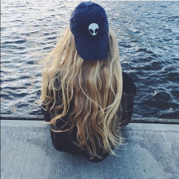 brandy melville katherine alien patch baseball cap accessories blue hat pacsun