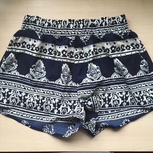 Pants - Printed Navy Shorts