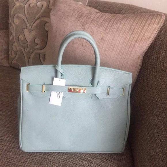 7cf318f6e78 Carbotti Bags   Designer 35cm Blue Leather Bag Wlock   Poshmark