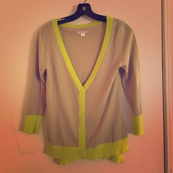 74% off Xhilaration Sweaters - Tan & Neon Yellow Cardigan from ...