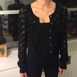 Free People Black Crochet Cardigan
