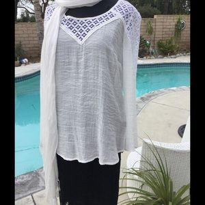 Long sleeve BLOUSE -Cream. Med and large 1 of each