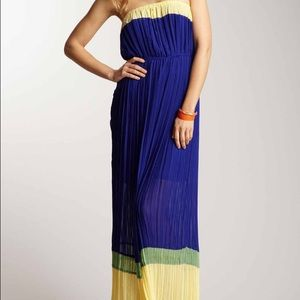 Romeo Juliet couture strapless pleated maxi dress