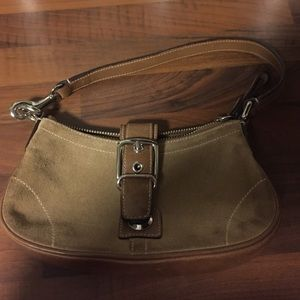 Coach small tan suede bag