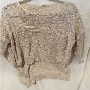 Beige Crop High Low Sweater Size Small