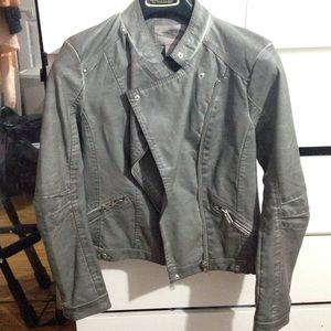 Grey moto leather jacket