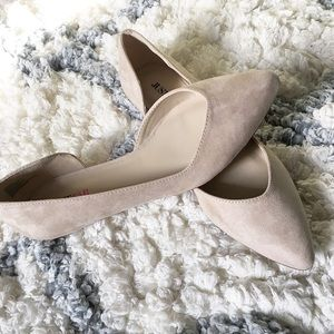 JustFab Pointed Taupe Flat D'Orsay Flats