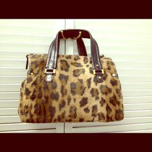 buy celine handbags online - celine leopard print fur handbag luggage