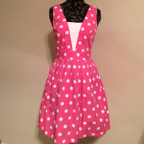 62% off Red Camel Dresses & Skirts - Reformation/Pink white polka ...