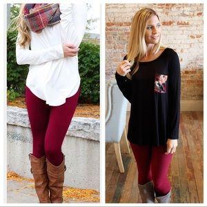 Burgundy soft knit leggings